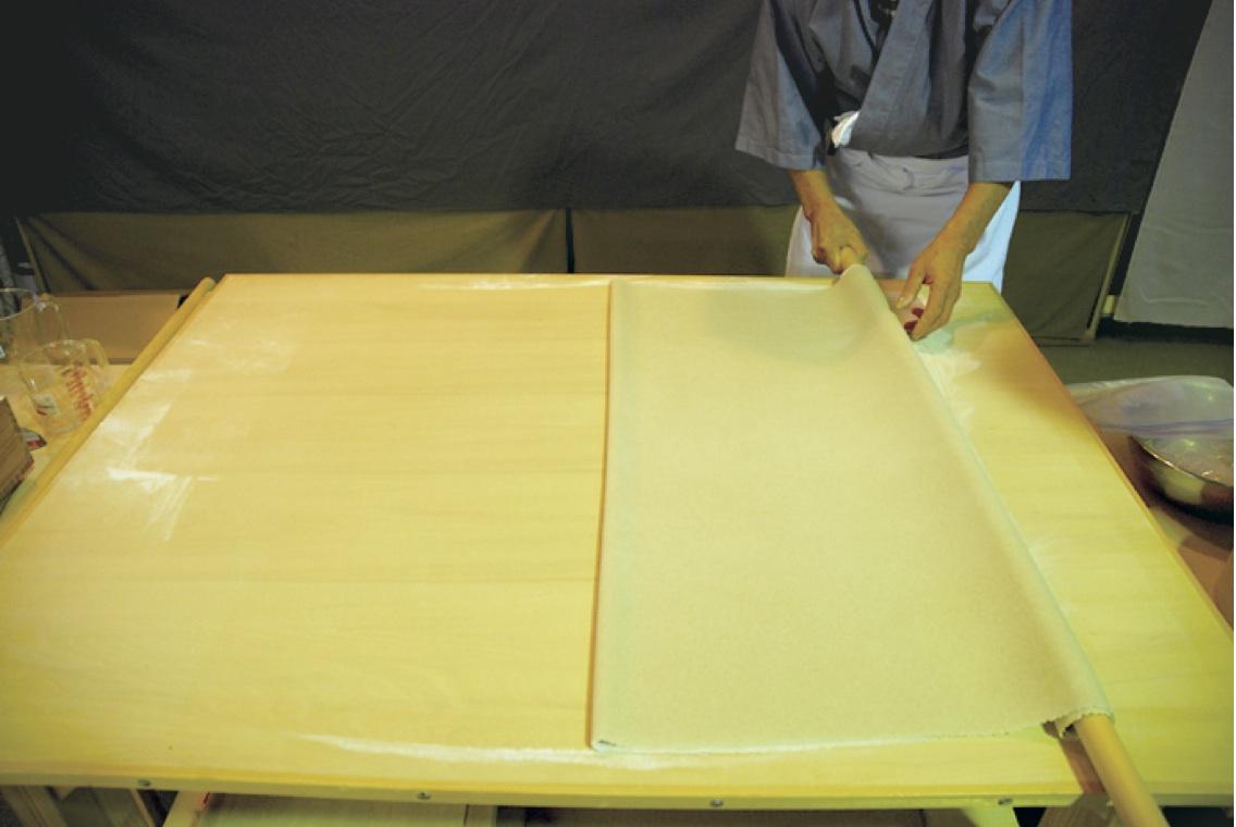 (12)たたみ -打ち粉をふり横へ1回、前方へ2回折りたたむ。
